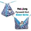 PJ-PYR001-NADT PetsJunG - Pyramid 2in1 บ้านปิรามิด 2in1 ลายจุดสีฟ้า