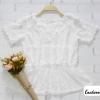 เสื้อผ้าลูกไม้ สีขาว แต่งลายลูกไม้ที่คอ แขนหยัก เอวสม็อก มีซับใน สวยหวานน่ารักมากค่ะ สินค้าคุณภาพ ราคาไม่แพง