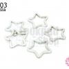 พวงกุญแจดาว สีโรเดียม 35X35มิล(5ชิ้น)
