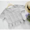 เสื้อครอป สีเทา คอวี เอวพลีท เข้ารูป แบบสวยน่ารักๆ เสื้อสีพื้น ใส่ง่าย ใส่สบาย เนื้อผ้าฮานาโกะคุณภาพดี