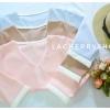 เสื้อแขนสามส่วน (สีม่วง) โทนสีพาสเทล คอวี กุ้นขอบสีตัดทูโทน แบบสวยน่ารักๆ