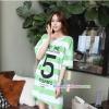 เสื้อคลุมท้องแขนสั้น ลายขวางสกีนเลขห้า : สีเขียว รหัส SH213