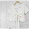 เสื้อแฟชั่นผ้าฮานาโกะ เสื้อครอปวีหลัง(สีขาว) แต่งโบว์เก๋ๆ แบบสวยน่ารักมากๆเนื้อผ้าฮานาโกะคุณภาพดี