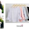 เสื้อแฟชั่น เสื้อทำงาน ผ้าฮานาโกะ สีม่วง แขนกระดิ่งสามส่วน แบบสวยเรียบหรู สินค้าคุณภาพดี