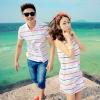 เดรสคู่รักเกาหลี แฟชั่นคู่รัก ชายเสื้อคอปกแขนสั้น หญิงเดรสคอปกแขนกุด สีขาวแต่งลาย +พร้อมส่ง+