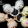 ตะขอสร้อยหน้าเสือคู่ สีเงิน,สีทอง,ทองแดงเพชรCZ เกรด จิวเวอรรี่ 13X15มิล ห่วง 16มิล (3ชุด)