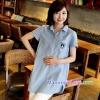 เสื้อเชิ้ตคลุมท้องคอปก สีฟ้าอ่อน ปักลายตัว R : SIZE XL รหัส SH043