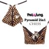 PJ-PYR001-BRCH PetsJunG - Pyramid 2in1 บ้านปิรามิด 2in1 ลายหมากรุกสีน้ำตาล