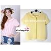 เสื้อแฟชั่น เสื้อทำงาน ผ้าฮานาโกะ สีเหลือง คอปกน่ารักๆ สินค้าคุณภาพ ราคาไม่แพง