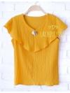 พร้อมส่งค่ะ เสื้อแฟชั่น เสื้อทำงาน สีเหลืองมัสตาร์ด แต่งระบายอกพริ้วๆสวยๆ