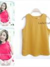 เสื้อแขนกุด สีเหลืองมัสตาร์ด ผ้าฮานาโกะ งานดี สวยเนี๊ยบเรียบหรู