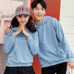 เสื้อกันหนาวคู่รักพร้อมส่ง แฟชั่นคู่รัก ชาย +หญิงเสื้อกันหนาวแบบสวม มีฮูด สีฟ้า