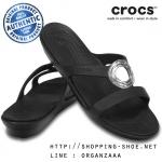 W8 (25.5 cm.) : Crocs Sanrah Beveled Circle Sandal - Black ของแท้ Outlet ไทยและอเมริกา