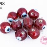ลูกปัดแก้ว ลูกตา สีแดง 12 มิล (1ขีด/100กรัม)