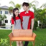 เสื้อคู่ ชุดคู่รัก ชายเสื้อคอปก+ หญิงเสื้อคอปก สีแดง แต่งลายขาวดำ +พร้อมส่ง+