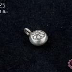 จี้ตัวแต่งเงินแท้ กลมรูปดอกไม้ 10 มิล (1ชิ้น)