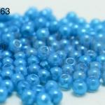 ลูกปัดมุก พลาสติก สีฟ้าเข้ม 1 ขีด