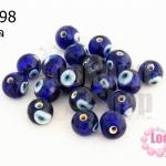ลูกปัดแก้ว ลูกตา สีน้ำเงิน 10 มิล (1ขีด/100กรัม)