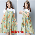 K1170302 เดรสคลุมท้องแฟชั่นเกาหลี โทนสีเขียวลายดอก