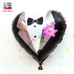 ลูกโป่งฟลอย์รูปชุดสูท เจ้าบ่าว ทรงหัวใจ ไซส์ 18 นิ้ว - A Groom's Suit Foil Balloon / Item No. TL-E064