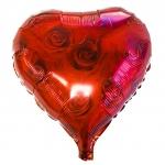 ลูกโป่งฟลอย์รูปหัวใจ พิมพ์ลายดอกกุหลาบ ไซส์ 18 นิ้ว - Heart Shape Printing Rose Foil Balloon / Item No. TL-E035