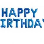 ลูกโป่งฟลอย์ข้อความ Happy Birthday สีฟ้า ติดกำแพง / Item No.TL-H010