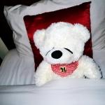 ตุ๊กตาหมีหลับ ตุ๊กตาหมีตัวเล็ก ขนาด 45 CM สีขาว