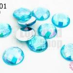 เพชรแต่ง กลม สีฟ้าเหลือบรุ้ง ไม่มีรู 14มิล(10ชิ้น)