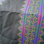 P339.ผ้าปักมือลายประยุกต์สีเขียวน้ำเงิน