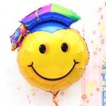 """ลูกโป่งฟลอย์รูปหน้ายิ้มสวมหมวกรับปริญญา ขนาดจัมโบ้ 32 นิ้ว - Smiley 32"""" Shape Balloon Congratulation / Item No. TL-F003"""