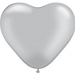 ลูกโป่งหัวใจเนื้อเมททัลลิก สีเงิน ไซส์ 12 นิ้ว แพ็คละ 10 ใบ (Heart Shape Balloon-Metallic Silver Color)