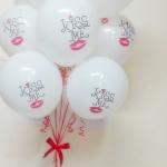 """ลูกโป่งกลมสีขาวพิมพ์ลาย Kiss Me ไซส์ 12 นิ้ว แพ็คละ 10 ใบ (Round Balloons 12"""" - Kiss Me Printing latex balloons)"""