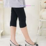 กางเกงเลคกิ้งคลุมท้อง ผ้าคอตตอน : สีดำ รหัส PN048