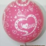 """ลูกโป่งกลมสีชมพู ช็อคกิ้งพิงค์ พิมพ์ลาย I Love You ไซส์ 12 นิ้ว แพ็คละ 10 ใบ (Round Balloons 12"""" - Printing I Love You Chocking Pink latex balloons) สำเนา"""