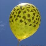 """ลูกโป่งกลมสีเหลืองพิมพ์ลายจุดยีราฟ (ซาฟารี ดีไซน์) ไซส์ 12 นิ้ว แพ็คละ 10 ใบ (Round Balloons 12"""" - Safari Giraffe Printing latex balloons)"""