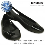 W6 (23.5 cm.) : Crocs Sienna Shiny Flat - Black ของแท้ Outlet ไทยและอเมริกา