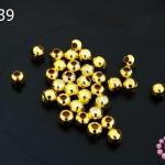 ลูกปัดโลหะ สีทอง กลม 4มิล (1ขีด/100กรัม)