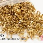 ต่างหูหนีบเกรียวหมุน สีทองเหลือง 16X15 มิล (2,000ชิ้น/1,000คู่)