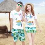 เสื้อคู่รัก ชุดคู่รักเที่ยวทะเลชาย +หญิง เสื้อยืดสีขาวลายเกาะทะเล กางเกงขาสั้นสีเขียว +พร้อมส่ง+