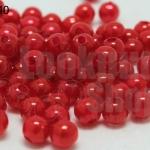ลูกปัดมุก พลาสติก สีแดง 5มิล (1ขีด/100กรัม)