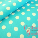 คอตตอนลินินญี่ปุ่น ลายจุดขนาด 10 mm สีฟ้าสดใส รุ่น Color Basic ของ Lecien เหมาะสำหรับงานผ้าที่ต้องการความแข็งแรง เช่น กระเป๋า ปลอกหมอนอิง ผ้าปูโต๊ะ