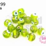 ลูกปัดแก้ว ลูกตา สีเขียวขี้ม้า 10 มิล (1ขีด/100กรัม)