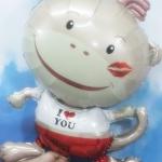 ลูกโป่งฟลอย์ ลิงน้อย I Love You ขนาดกลาง - Monkey with kiss / Item No.TL-A134
