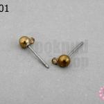ต่างหูแบบเสียบ(ไม่มีตูด) ฐานกลมมีห่วง สีทองเหลือง 4มิล(10คู่)