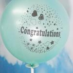 """ลูกโป่งกลมพิมพ์ลาย Congratulations ไซส์ 12 นิ้ว แพ็คละ 10 ใบ สีเขียวอ่อน (Round Balloons 12"""" - Printing Congratulations latex balloons Pearl Light Green color)"""