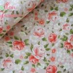 คอตตอนเกาหลีลายดอกกุหลาบสีโอรส เนื้อผ้านิ่มตัดเสื้อได้ เหมาะกับงานผ้าทุกชนิด