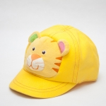 หมวกเด็ก หมวกแก๊ปเด็กเล็ก หมวกหน้าสัตว์ หน้าเสือ สีเหลือง มีสายปรับขนาดหมวกด้านหลัง
