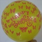 """ลูกโป่งกลมพิมพ์ลาย Happy Birth Day สีเหลือง แบบที่ 2 ไซส์ 12 นิ้ว จำนวน 10 ใบ (Round Balloons 12"""" - Happy Birth Day Design no. 2 latex balloons)"""