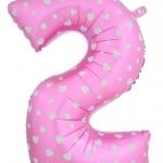 """ลูกโป่งฟอยล์รูปตัวเลข 2 สีชมพูพิมพ์ลายหัวใจ ไซส์จัมโบ้ 40 นิ้ว - Number 2 Shape Foil Balloon Size 40"""" Pink Color printing Heart"""