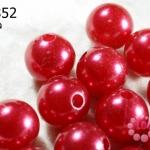 ลูกปัดมุก พลาสติก สีแดงสด 16 มิล (1ขีด/100กรัม)